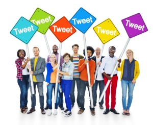 Multiethnic People Holding Signs With Tweet