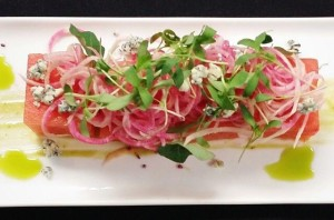 Watermelon with radish dish