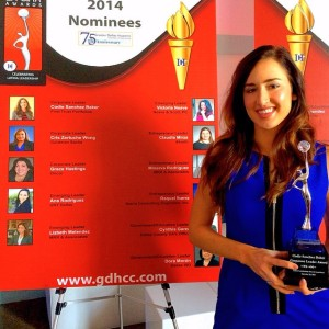 Codie Baker Sanchez received her Corporate Leader Award from the Greater Dallas Hispanic Chamber of Commerce