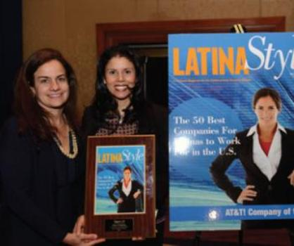 Ileana Musa, Head of International Credit & Banking, Bank of America and Indhira Arrington, SVP, Diversity and Inclusion, Bank of America, receiving her Latina Style Magazine award.