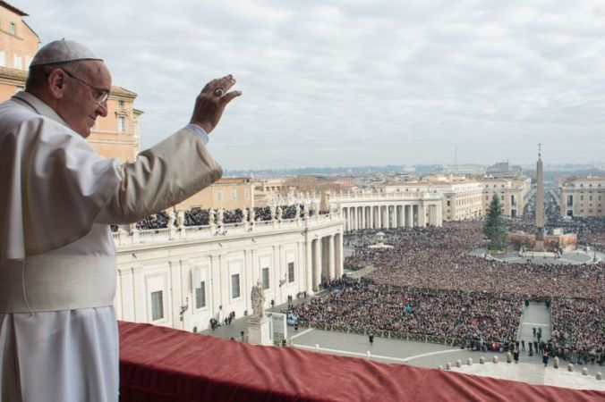 Pope Francis, a massive influencer, in front of the Vatican.