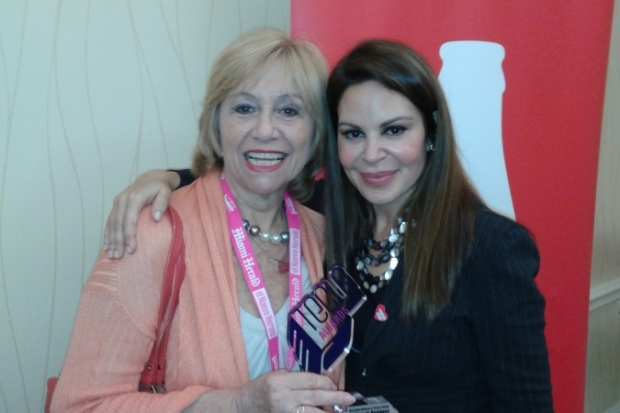 Nelly Galan (R), influencer and founder of the Adelante Movement, with Susana G Baumann, LatinasinBusiness.us